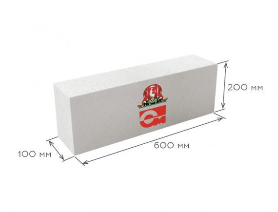 Блок газобетонный перегородочный D600 B3.5 600*200*100, Газобетон