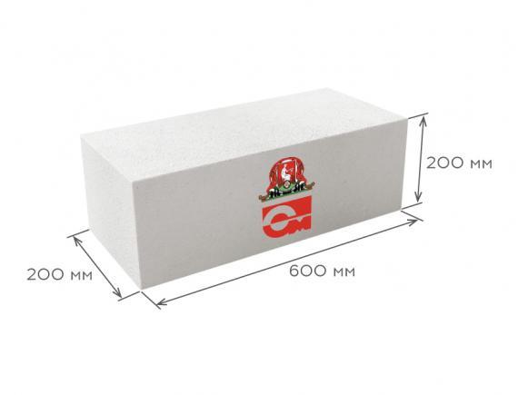 Блок газобетонный стеновой D400 600*200*200, Газобетон