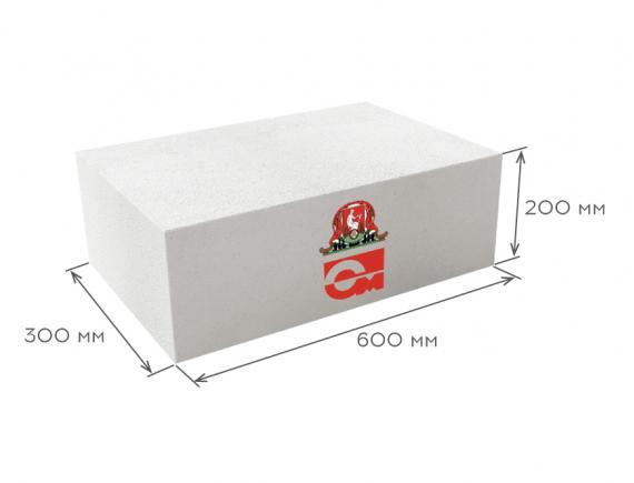 Блок газобетонный стеновой D600 B5.0 600*200*300, Газобетон