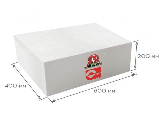 Блок газобетонный стеновой D600 B5.0 600*200*400, Газобетон