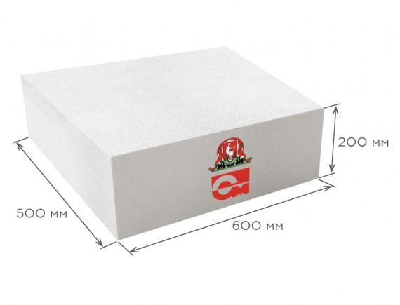 Блок газобетонный стеновой D600 B5.0 600*200*500, Газобетон