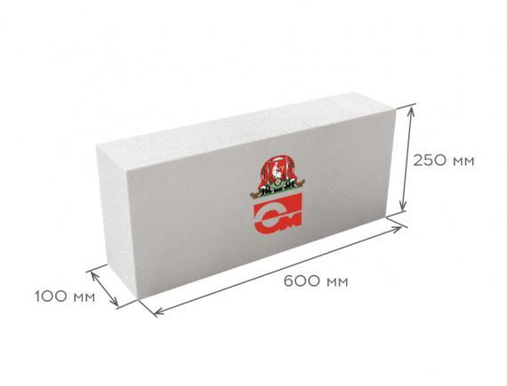 Блок газобетонный перегородочный D600 B5.0 600*250*100, Газобетон