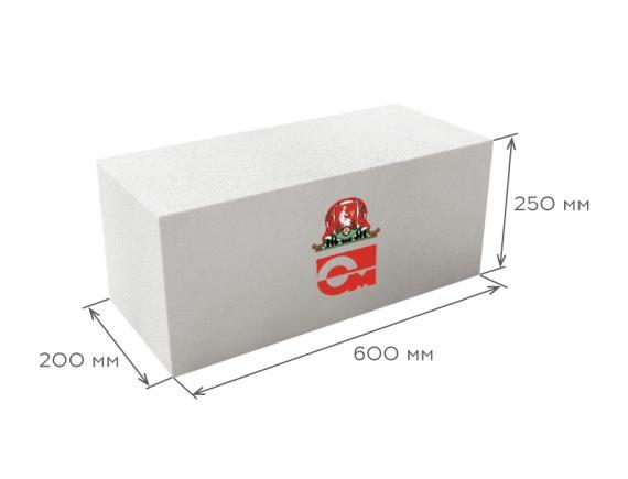 Блок газобетонный стеновой D500 600*250*200, Газобетон