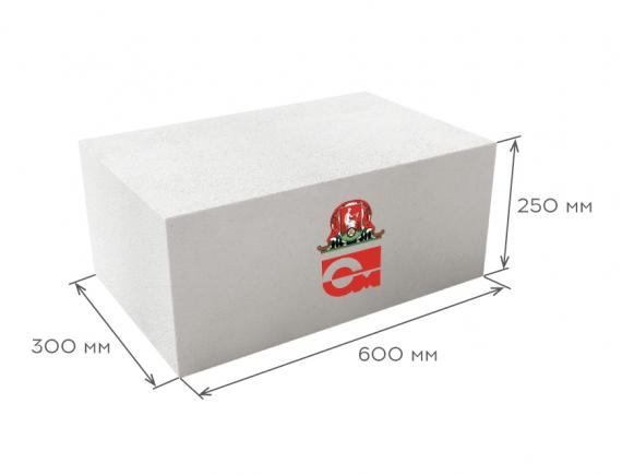 Блок газобетонный стеновой D600 B3.5 600*250*300, Газобетон