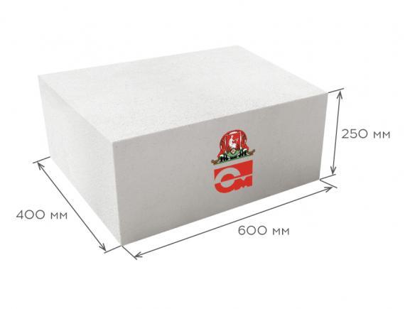 Блок газобетонный стеновой D400 600*250*400, Газобетон